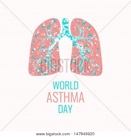 World Asthma Day poster. Vector illustration of lungs filled with air bubbles. Asthma awareness sign. Asthma solidarity day. Healthy lungs symbol. Lungs logo.