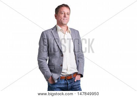 Portrait of a smiling middle age man in a shirt and a jacket