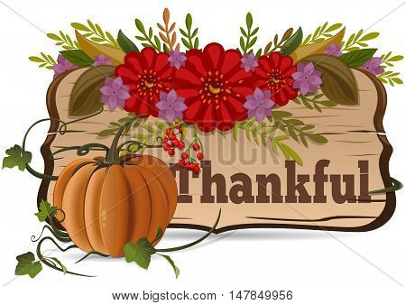 Thanksgiving Day. Thankful. Autumn background. Vector ornament flowers on a white background