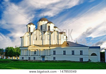Sunset view of St Nicholas Cathedral - one of the oldest cathedrals of Novgorod at Yaroslav Courtyard Veliky Novgorod Russia. Architecture landscape of cathedral in sunny evening