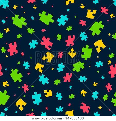 Puzzle seamless pattern. Vector illustration of colorful puzzle pieces on dark background. It can be used for cards, party invitations, baby shower albums and scrap booking.