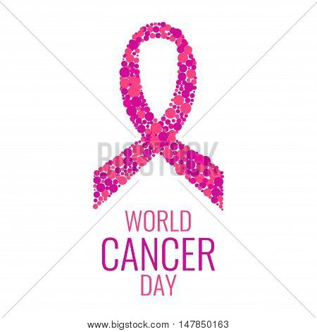 Pink ribbon made of dots on white background. World Cancer Day. Stop Cancer. Isolated vector illustration.