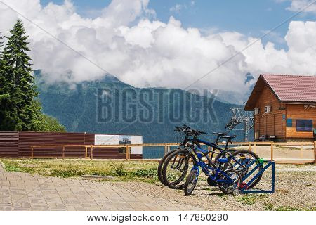 Mountain summer view with a few bicycle. Krasnaya Polyana. Sochi.