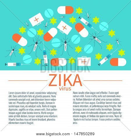 Zika virus infographic design template with mosquitoes, pills, syringes and first aid boxes. Zika virus transmission and treatment symbols. Vector illustration.