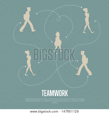 Abstract teamwork banner with people silhouettes and logical connections between them, isolated vector illustration on gray background. Office life. Business team work process concept