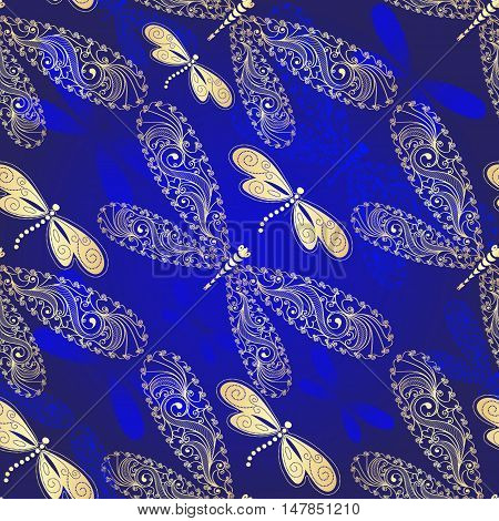 Dark blue gradient seamless pattern with floral lacy and golden dragonflies (vector)