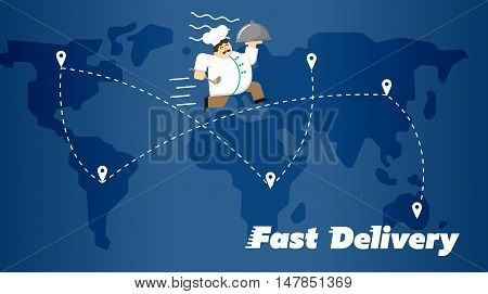 Chef in white uniform running with restaurant cloche on background of blue world map with routes. Fast food delivery design, vector illustration. Worldwide shipping and moving concept.