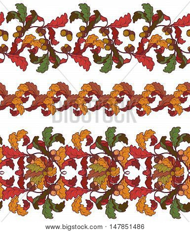 Fall oak leaves seamless borders. Artistic brushes template. Colourful autumn oak leaves isolated on white background. Baroque decorative elements. Intricate hand drawing. EPS10 vector illustration.