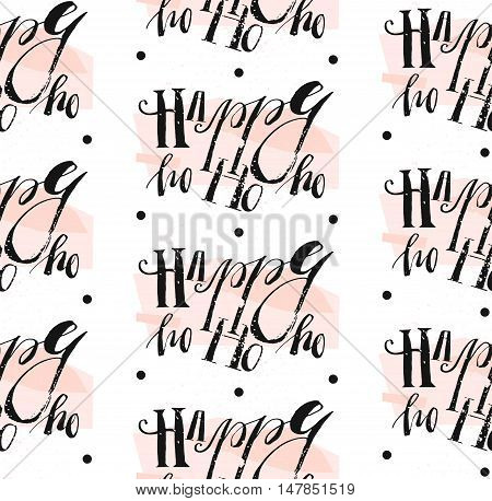 Hand drawn vector abstract christmas greeting seamless pattern with handwritten modern lettering phase Happy ho ho ho in pastel colors isolated on white background.