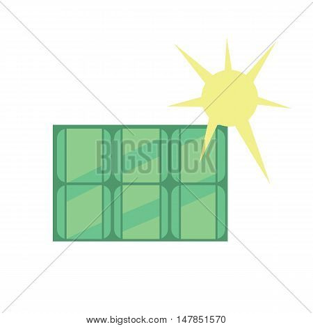 Solar panel icon. Vector illustration production energy from the sun. Eco generation. Clean energy. Renewable resources concept. Isolated object