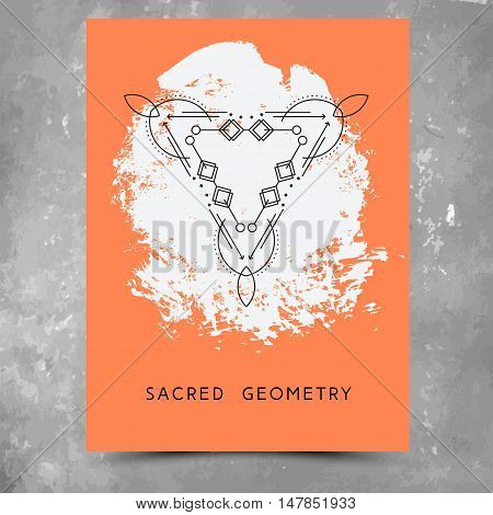 Vector geometric alchemy symbols with phrases on hand drawn background with splash of orange paint. Abstract occult and mystic signs. Business card template and line hipster logotype. Concept of yoga.