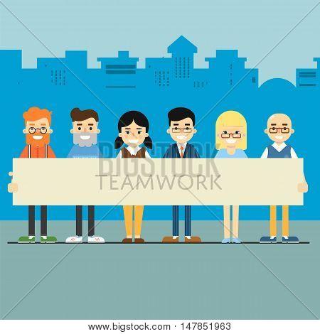 Group of smiling people holding big banner. Teamwork banner, vector illustration on blue cityscape background. People communication concept. Team work for great result.