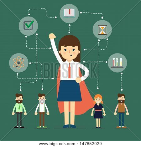 Social network and teamwork banner with connected people near businesswoman in superhero cloak, vector illustration on green background. Communication mapping. Research and development. Team work