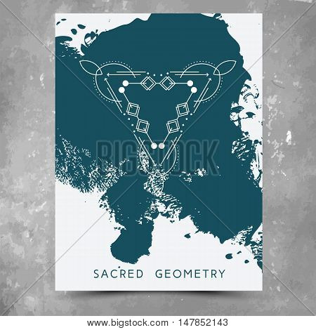 Vector geometric alchemy symbols with phrases on hand drawn background with splash of green paint. Abstract occult and mystic signs. Business card template and line hipster logotype. Concept of yoga.