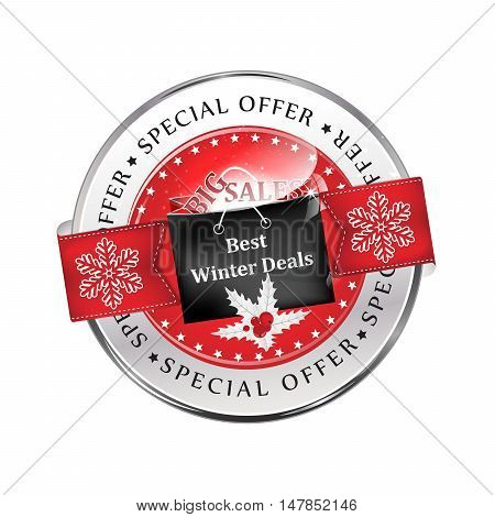 Best winter deals. Special offer, Big Sales - red icon / ribbon with shopping bag, mistletoe and snowflakes.