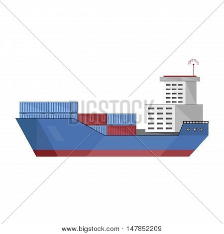 Cargo vessel with container isolated on white background flat vector illustration