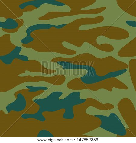 Camouflage pattern background seamless vector illustration. Classic clothing style masking camo repeat print. Green brown khaki olive colors forest texture