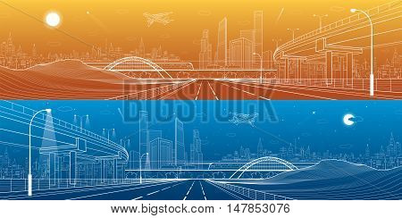 Infrastructure panorama. Car overpass, city skyline, urban scene, plane takes off, train move, transport illustration, mountains, white lines on blue and orange background, vector design art