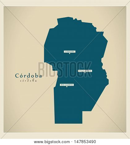 Modern Map - Cordoba AR vector high res