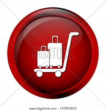 Luggage and cart icon symbol button vector illustration