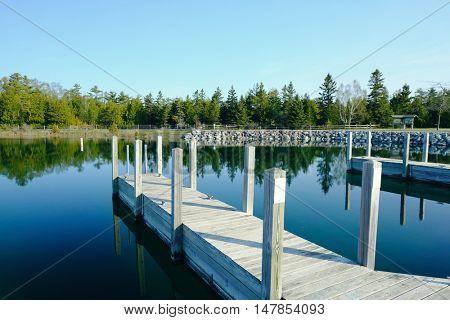 Jetty on Lake Huron at Presque Isle, MI, USA