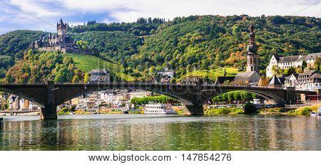 Romantic river Rhein - medieval Cochem town. View of bridge and castle