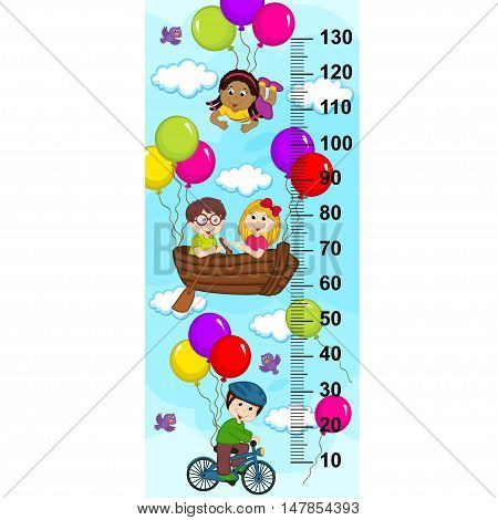 Children in the sky on a bicycle, boat flying on balloons(in original proportions 1:4) - vector illustration, eps