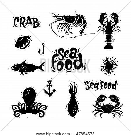 Seafood. Fish, crab, octopus, clam, sea urchin, shrimp. Lettering, calligraphy, lino-cut. Hand-drawn. Flat design vector illustration.