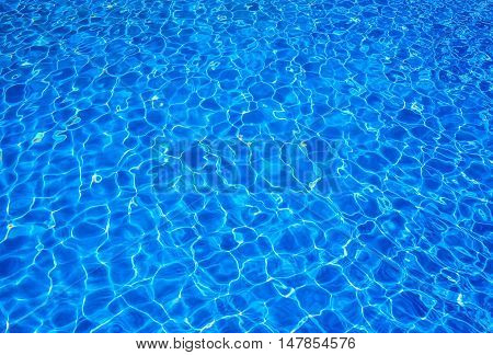 Sunlit water in a blue water pool background.