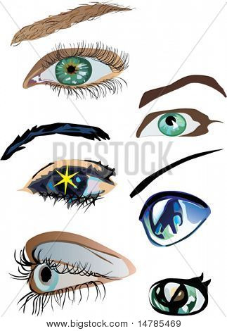 six different color woman eyes