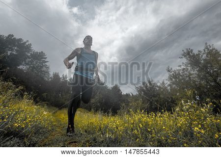 Trail running athlete moving through the meadow
