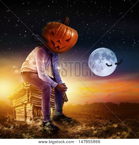helloween business man waiting for  party