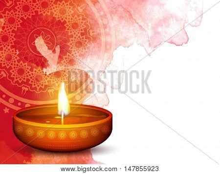 Creative realistic illuminated Oil Lamp (Diya) on abstract floral watercolor background, Beautiful Greeting Card design for Indian Festival of Lights, Happy Diwali celebration.