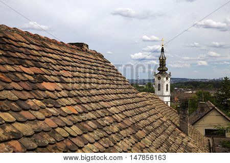 Rooftops in old part of Zemun,Serbia with Saint Nicholas church