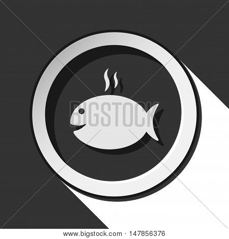black icon - grilling fish with smoke and white stylized shadow
