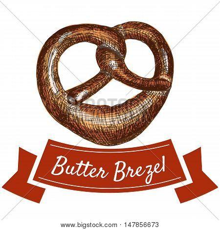 Butter brezel illustration. Vector colorful illustration of butter brezel.