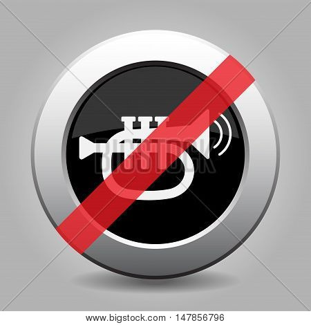 gray chrome button with no trumpet sound with two vibration waves - banned icon