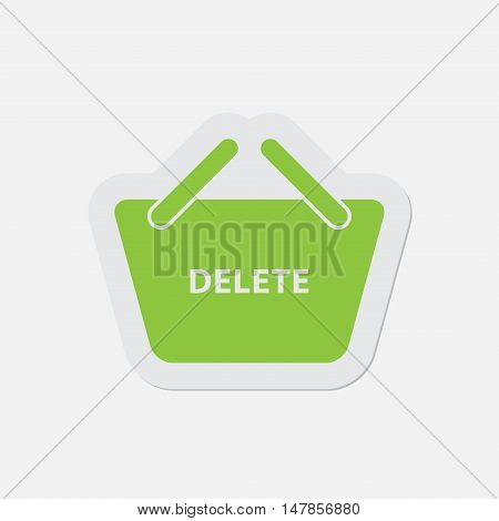 simple green icon with contour and shadow - shopping basket delete on a white background