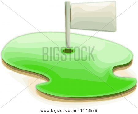 Golf Course & Flag Icon - Golfing