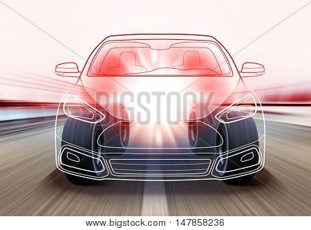 3D illustration of advanced car and wheels rushes on road with high speed