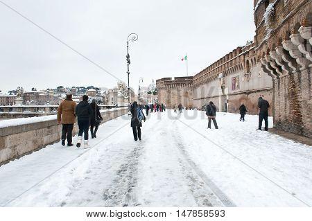St Angelo Castle Side Winter View In Rome