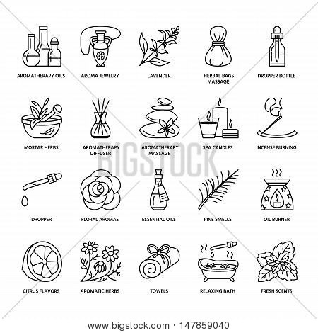 Modern vector line icons of aromatherapy and essential oils. Elements - aromatherapy diffuser oil burner spa candles incense sticks. Linear pictogram with editable strokes for aromatherapy salon.