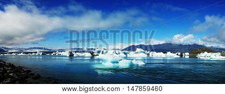 Lagoon Jokulsarlon glacial lake and icebergs Iceland