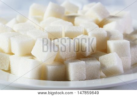 Sugar Cubes In A Plate Close-up