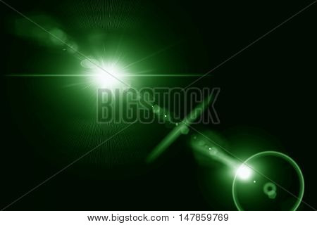 Digital lens flare in black background horizontal frame warm and abstract background