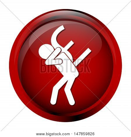 Man carrying with a money icon pound sign button vector illustration