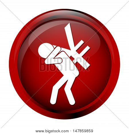 Man carrying with a money icon yen sign button vector illustration