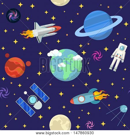 Space Research Vector Seamless Pattern Background with Shuttle and Planets