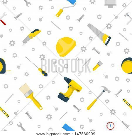 Home Repair and Renovation Tools Seamless Pattern Vector Background