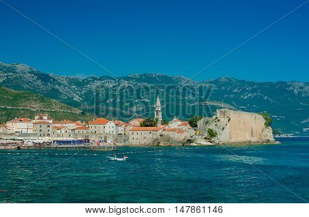 Landscape of old town Budva, Montenegro, Europe.